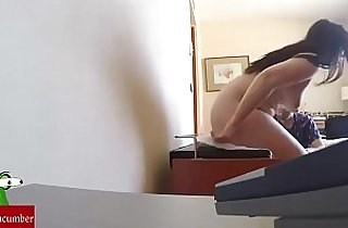 At the massage with hidden cam.
