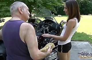 OLD YOUNG PORN Grandpa Fucks Teen Hardcore blowjob young girl rubs her pussy
