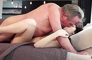 Old and Young Sweet innocent girlfriend gets fucked by grandpa
