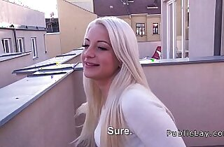 Blonde babe gives amazing blowjob on roof top pov