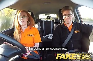 Fake Driving School Nerdy teen fucked to creampie orgasm