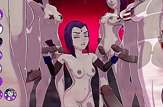Raven gets a TERRIFIC bukkake, Fucks and Cums With A Group Of Futas sexgame